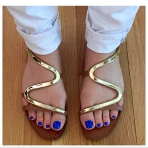"Steve Madden ""Baden"" Gold/Leather Sandals Sz 9"